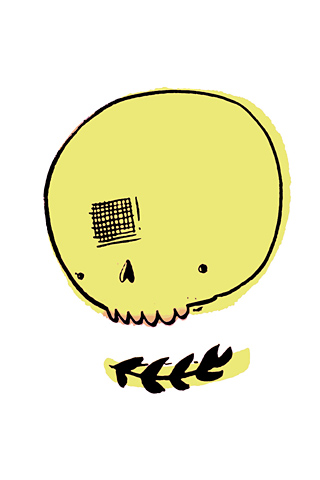 Poolga - Yellow Skull - Cat Rocketship